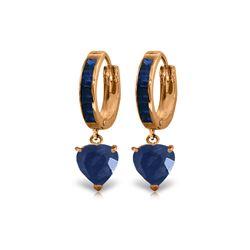 Genuine 3.95 ctw Sapphire Earrings 14KT Rose Gold