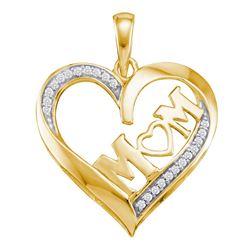 0.08 CTW Diamond Heart Mom Mother Pendant 10kt Yellow Gold