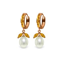 Genuine 10.30 ctw Citrine & Pearl Earrings 14KT Rose Gold