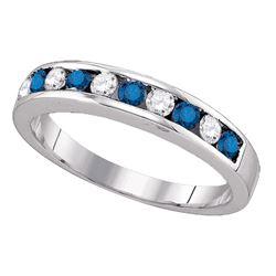 0.25 CTW Blue Color Enhanced Diamond Ring 10kt White Gold