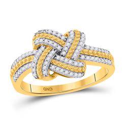 0.20 CTW Diamond Beaded Knot Fashion Ring 10kt Yellow Gold