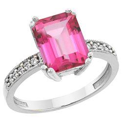 3.70 CTW Pink Topaz & Diamond Ring 10K White Gold