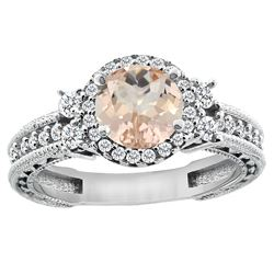1.46 CTW Morganite & Diamond Ring 14K White Gold