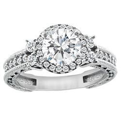 1.15 CTW Diamond Ring 14K White Gold