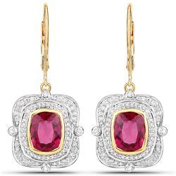 4.4 ctw Rubellite & Diamond Earrings 14K Yellow Gold