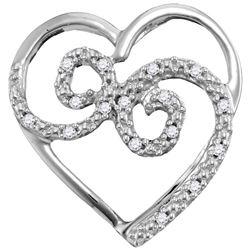 0.05 CTW Diamond Curled Heart Pendant 10kt White Gold