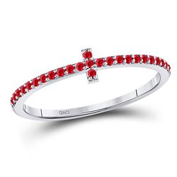 0.15 CTW Ruby Cross Stackable Ring 10kt White Gold