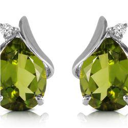 Genuine 4.26 ctw Peridot & Diamond Earrings 14KT White Gold