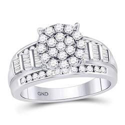 0.96 CTW Diamond Cluster Bridal Wedding Engagement Ring 10kt White Gold