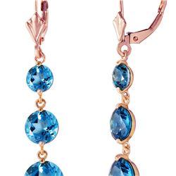 Genuine 7.2 ctw Blue Topaz Earrings 14KT Rose Gold