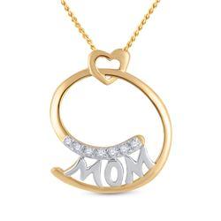0.04 CTW Diamond Mom Mother Pendant 14kt Yellow Gold