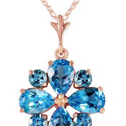Genuine 2.43 ctw Blue Topaz Necklace 14KT Rose Gold