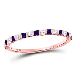 0.40 CTW Blue Sapphire Diamond Stackable Ring 10kt Rose Gold