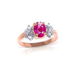 Genuine 0.97 ctw Pink Topaz & Diamond Ring 14KT Rose Gold