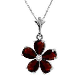 Genuine 2.22 ctw Garnet & Diamond Necklace 14KT White Gold