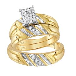 0.26 CTW Diamond Cluster Matching Bridal Wedding Ring 14kt Yellow Gold