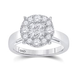 1.01 CTW Diamond Cluster Bridal Wedding Engagement Ring 14kt White Gold