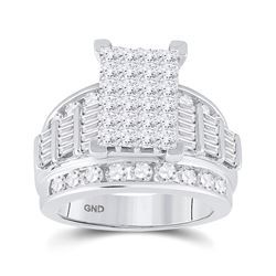 3 CTW Diamond Cluster Bridal Wedding Engagement Ring 14kt White Gold