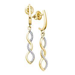 0.14 CTW Diamond Infinity Dangle Earrings 10kt Yellow Gold
