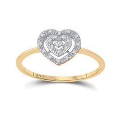 0.04 CTW Diamond Slender Heart Cluster Ring 10kt Yellow Gold