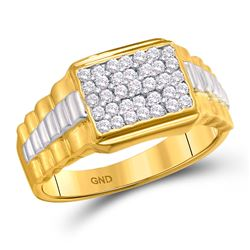 0.50 CTW Diamond Rectangle Cluster Ribbed 2Tone Ring 10kt Yellow Gold