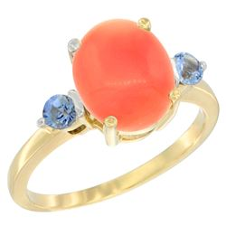 0.24 CTW Blue Sapphire & Natural Coral Ring 14K Yellow Gold