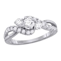 0.88 CTW Diamond 3-stone Bridal Wedding Engagement Ring 14kt White Gold