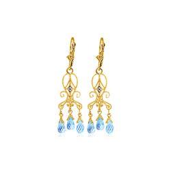 Genuine 4.81 ctw Blue Topaz & Diamond Earrings 14KT Yellow Gold
