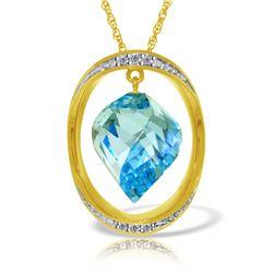 Genuine 14 ctw Blue Topaz & Diamond Necklace 14KT Yellow Gold