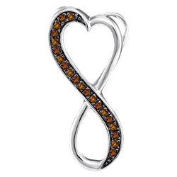 0.10 CTW Brown Diamond Heart Infinity Pendant 10kt White Gold