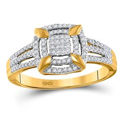 0.25 CTW Diamond Square Frame Cluster Ring 10kt Yellow Gold