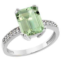 3.70 CTW Amethyst & Diamond Ring 10K White Gold