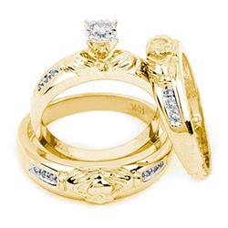 0.12 CTW Diamond Claddagh Matching Bridal Wedding Ring 14kt Yellow Gold