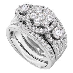 2 CTW Diamond 3-Piece Bridal Wedding Engagement Ring 14kt White Gold
