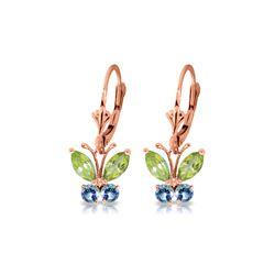 Genuine 1.24 ctw Peridot & Blue Topaz Earrings 14KT Rose Gold