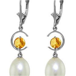 Genuine 9 ctw Pearl & Citrine Earrings 14KT White Gold