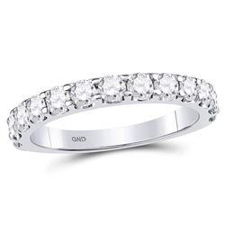1.04 CTW Diamond Single Row Machine-set Wedding Ring 14kt White Gold