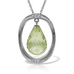 Genuine 9.6 ctw Amethyst & Diamond Necklace 14KT White Gold