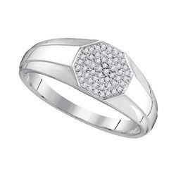 0.15 CTW Diamond Octagon Cluster Ring 10kt White Gold