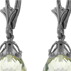 Genuine 14 ctw Green Amethyst Earrings 14KT White Gold