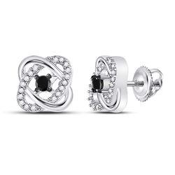 0.25 CTW Black Color Enhanced Diamond Fashion Earrings 10kt White Gold
