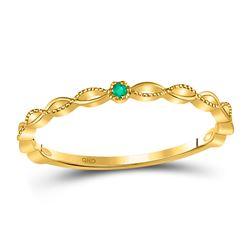 0.01 CTW Emerald Solitaire Milgrain Stackable Ring 10kt Yellow Gold