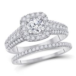1.50 CTW Diamond Bridal Wedding Engagement Ring 14kt White Gold