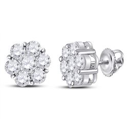 2.53 CTW Diamond Flower Cluster Earrings 14kt White Gold