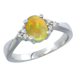 0.62 CTW Ethiopian Opal & Diamond Ring 14K White Gold