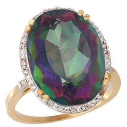13.71 CTW Mystic Topaz & Diamond Ring 10K Yellow Gold
