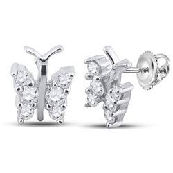 0.30 CTW Diamond Butterfly Bug Earrings 14kt White Gold