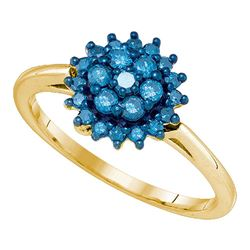 0.45 CTW Blue Color Enhanced Diamond Flower Cluster Ring 10kt Yellow Gold