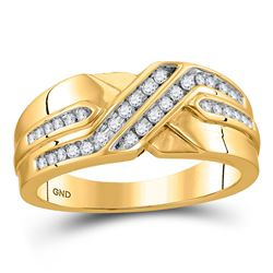 0.26 CTW Diamond Diagonal Double Row Ring 10kt Yellow Gold