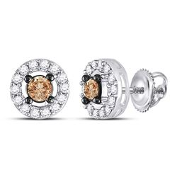 0.70 CTW Brown Diamond Screwback Stud Earrings 10kt White Gold
